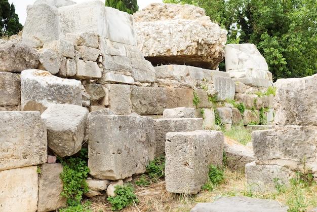 Ruínas, de, antiga, kos, cidade, castelo, e, hadji, hasan, mesquita, kos, ilhas, grécia