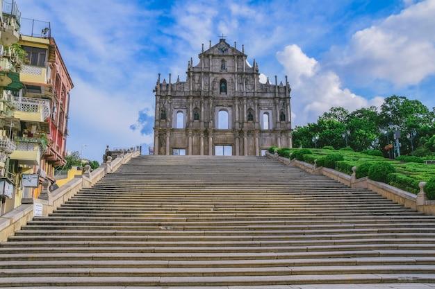 Ruínas de macau da catedral de são paulo. construída de 1582 a 1602 pelos jesuítas.