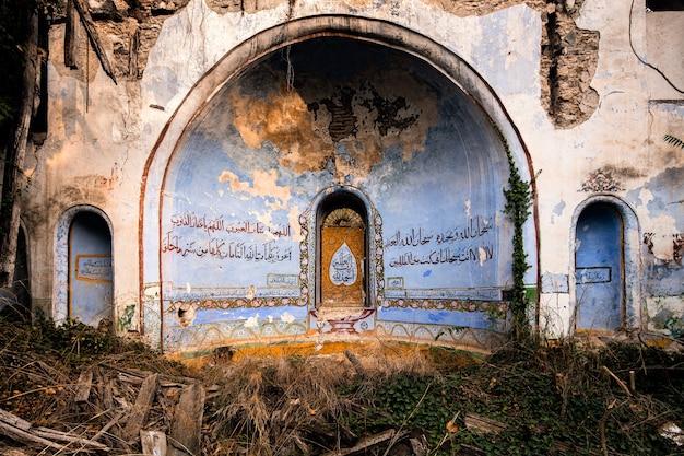Ruínas de mesquita azul e amarela cercadas por vegetação e madeira no leste da turquia