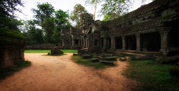 Ruínas de pedra antigas do templo de ta prohm, angkor, camboja