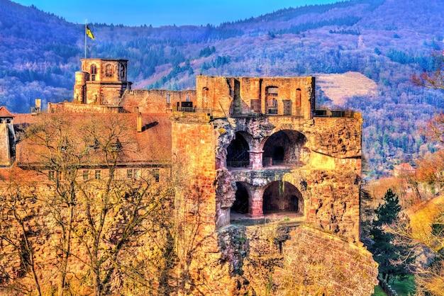 Ruínas do castelo em heidelberg, estado de baden wurttemberg na alemanha
