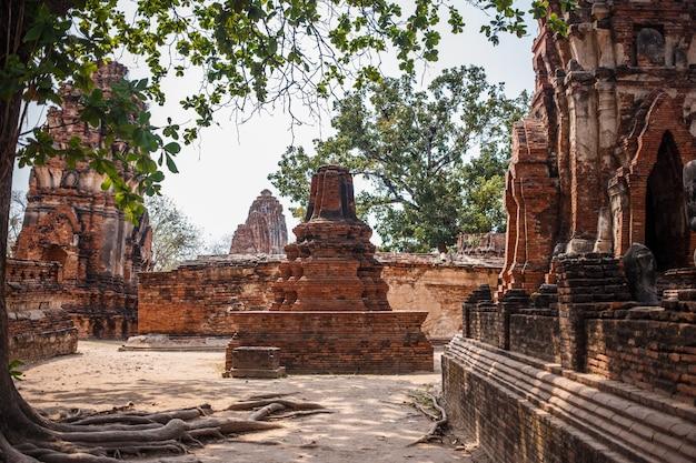 Ruínas do templo de ayutthaya, wat maha that ayutthaya como um patrimônio mundial, tailândia.