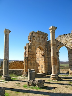 Ruínas romanas em volubilis, marrocos