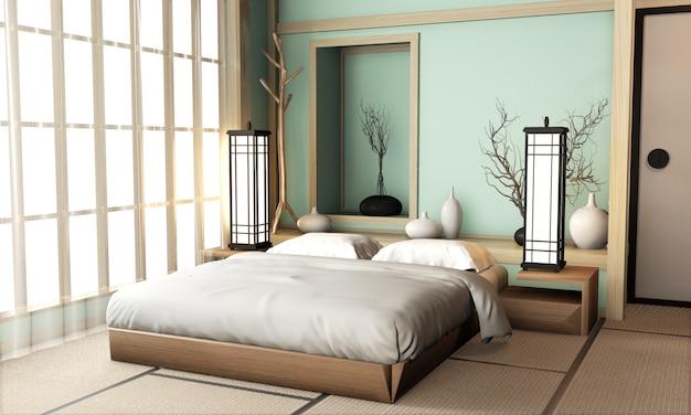 Ryokan - quarto de cama azul claro, estilo muito japonês, com piso e decoração em tatami. renderização em 3d