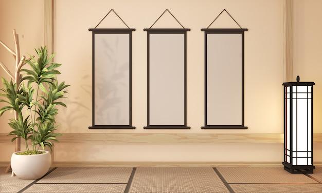 Ryokan room design muito estilo japonês, renderização em 3d