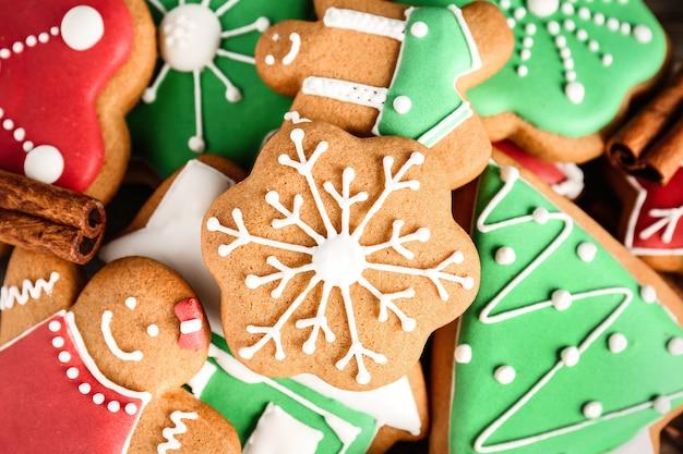 Saborosos biscoitos caseiros de natal, closeup