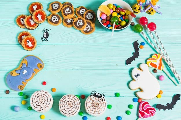 Saborosos biscoitos diferentes, pão de gengibre, pirulitos e doces