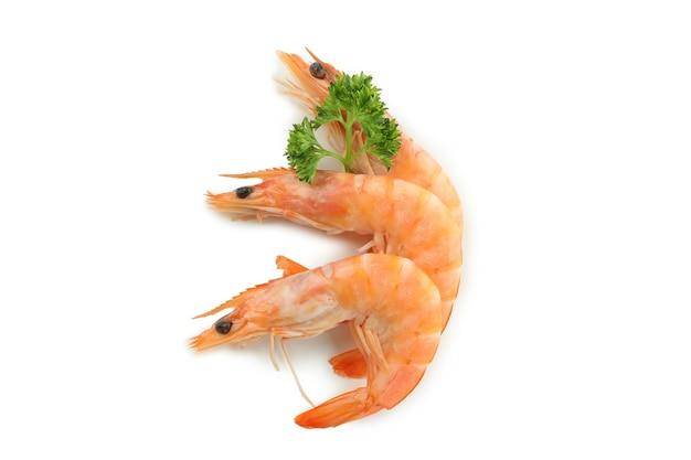 Saborosos camarões cozidos isolados no branco