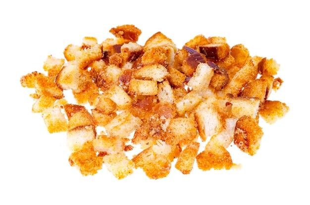 Saborosos croutons de pão branco caseiro.