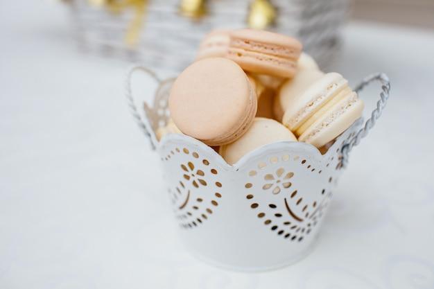 Saborosos macarons de pastelaria