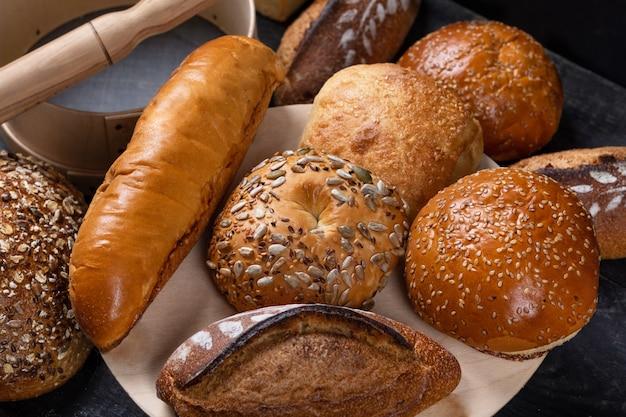 Saborosos pães, pães, vista de cima