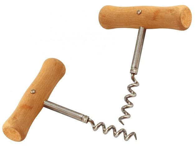 Saca-rolhas com cabo de madeira