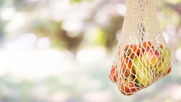 Saco biodegradável com vegetais frescos e frutas com espaço de cópia
