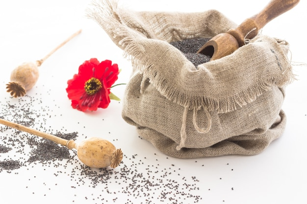 Saco com sementes de papoula e colher de madeira