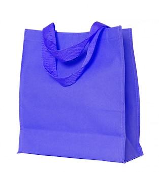 Saco de algodão azul isolado no branco com traçado de recorte