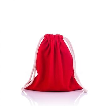 Saco de algodão vermelho para moedas.