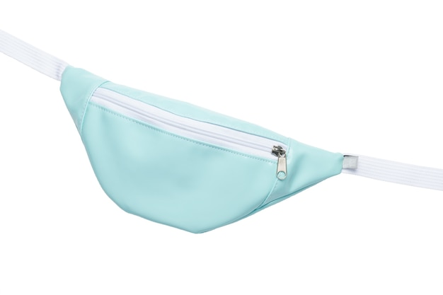 Saco de cinto azul com inserções brancas isolado no fundo branco. fechar-se.