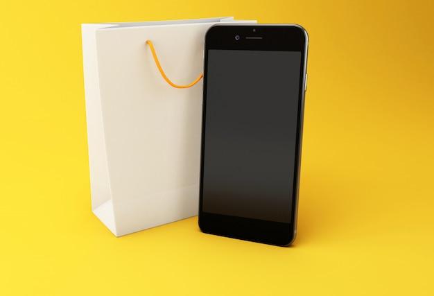 Saco de compra 3d com smartphone