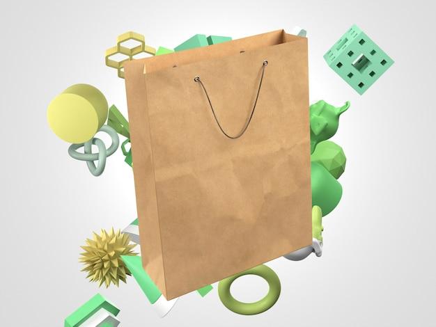 Saco de compra de papel 3d com elementos verdes