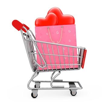 Saco de compra de papel rosa com corações vermelhos no carrinho de compras em um fundo branco. renderização 3d