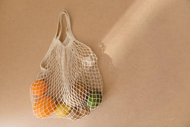 Saco de compra feito malha da malha reusável amigável da malha de eco com frutas e legumes, desperdício zero