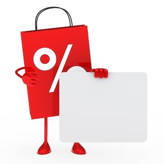 Saco de compra vermelho com um sinal