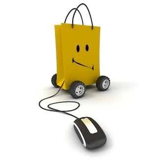 Saco de compras amarelo sorridente sobre rodas conectado a um mouse de computador