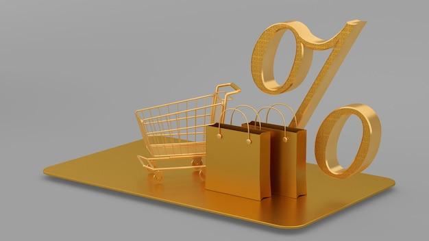 Saco de compras de ouro luxuoso, carrinho, renderização em 3d, 3d.