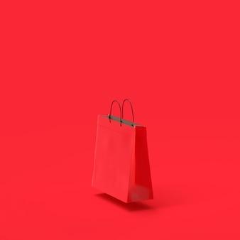 Saco de compras papel vermelho cor mock-up