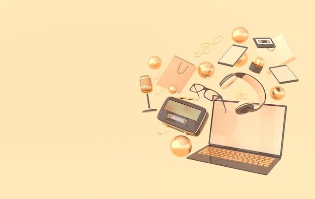 Saco de compras para laptop, óculos, microfone, rádio, fones de ouvido