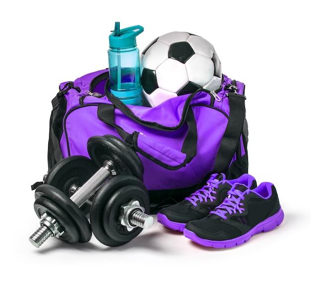 Saco de desporto com equipamento desportivo