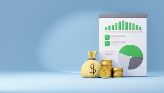 Saco de dinheiro 3d com moeda e papel milimetrado de relatório. renderização de ilustração 3d.