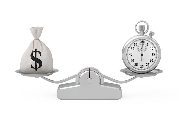 Saco de dinheiro de linho de lona rústica amarrado ou bolsa de dinheiro e cifrão com cronômetro de equilíbrio em uma escala de ponderação simples em um fundo branco. renderização 3d