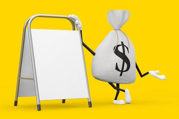 Saco de dinheiro de linho de lona rústica amarrado ou saco de dinheiro e cifrão mascote de personagem com suporte de promoção de publicidade em branco branco sobre um fundo amarelo. renderização 3d