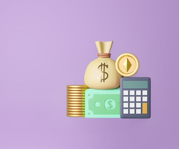 Saco de dinheiro de notas de moeda de ouro 3d e calculadora em fundo roxo. renderização de ilustração 3d.