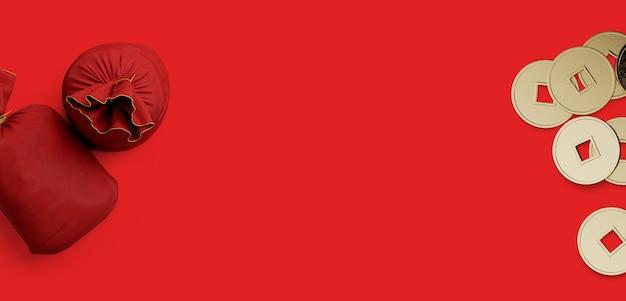 Saco de dinheiro de seda vermelho e moeda de ouro chinês sobre fundo vermelho. ilustração de renderização 3d.