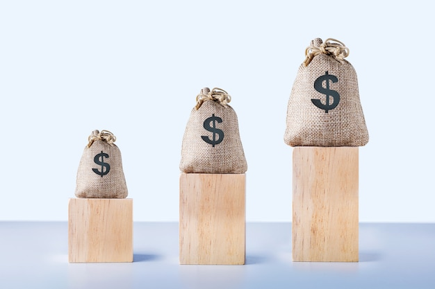 Saco de dinheiro do dólar com taxa de empréstimo de crescimento. conceito de taxas financeiras e hipotecas de taxa de juros.