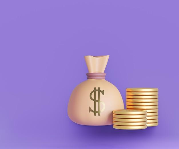 Saco de dinheiro do dólar dos desenhos animados 3d com ícone de moedas de ouro sobre fundo roxo. ilustração de renderização 3d