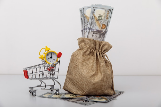 Saco de dinheiro em dólares e um conceito de empréstimos e microcréditos de carrinho de compras