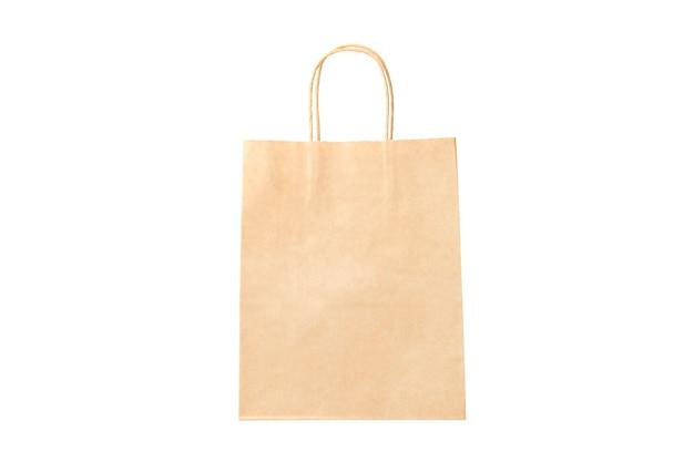 Saco de entrega de comida marrom de papel isolado