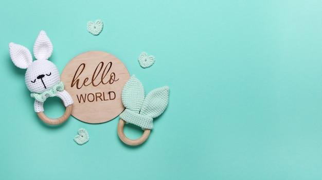 Saco de feijão de brinquedos de madeira ecológico de bebê e tablet de madeira de mordedores hello world em fundo de hortelã