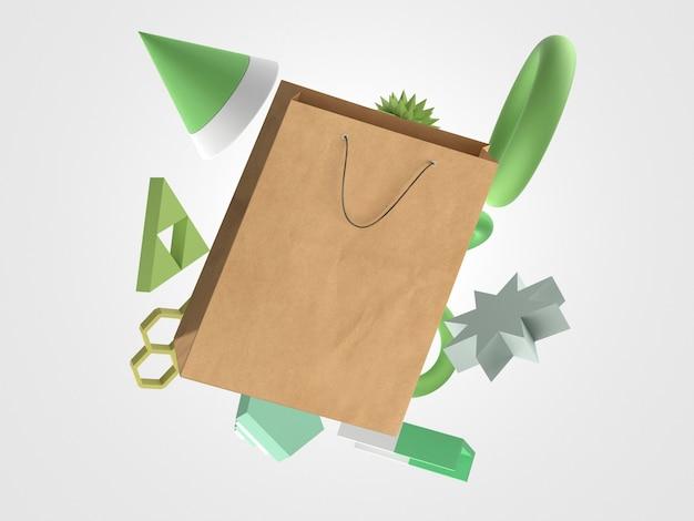 Saco de papel 3d para compras