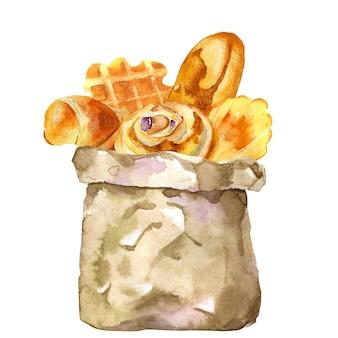 Saco de papel aquarela com croissant e baguete francesa