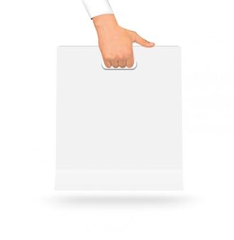 Saco de papel branco em branco simulado até segurando na mão.