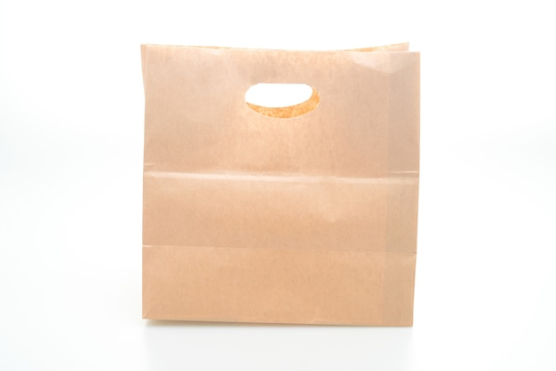 Saco de papel isolado no fundo branco