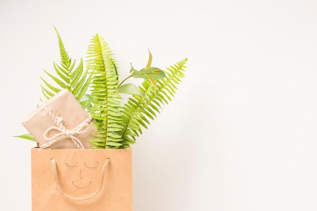 Saco de papel marrom com folhas de samambaia e caixa de presente contra o pano de fundo branco