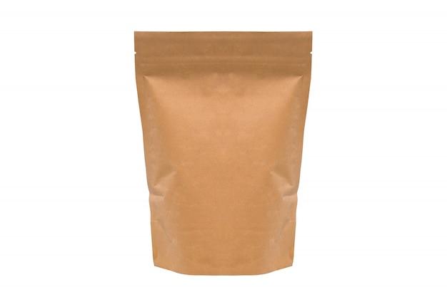Saco de papel marrom isolado. embalagem de café