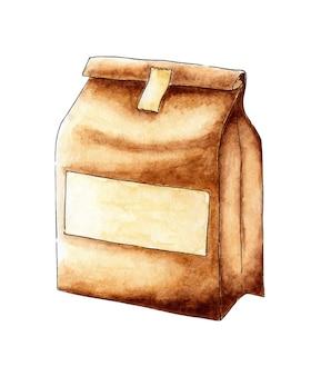 Saco de papel para pintura em aquarela para alimentos ecológicos e seguros. embalagem de papel marrom com etiqueta