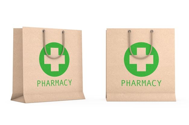 Saco de papel reciclado de medicamento com sinal de farmácia em um fundo branco. renderização 3d