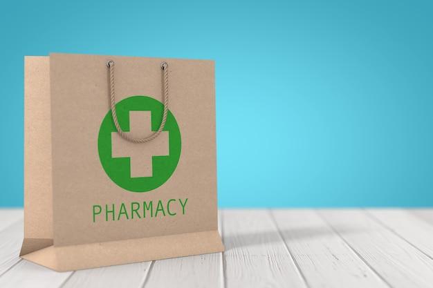 Saco de papel reciclado de medicamento com sinal de farmácia em uma mesa de madeira. renderização 3d